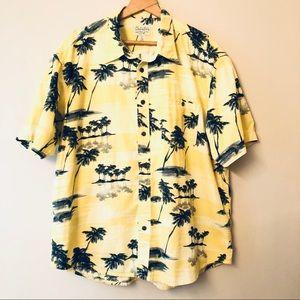 Mens Cabela's Hawaiian Yellow Palm Tree Shirt XL